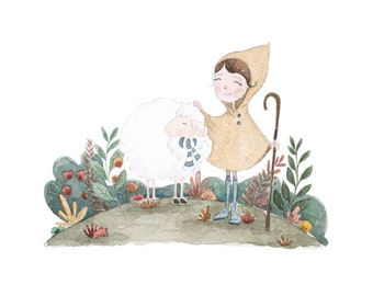 8.5 x 11 Girl and sheep watercolor print