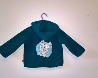 Teal fleece coat. Decorative OWL