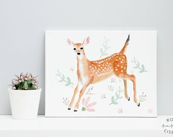 Poster fawn // 8 x 10 inches, Illustration of a baby deer with flowers, Water color, Poster to frame, Kids bedroom, Baby room, Nursery