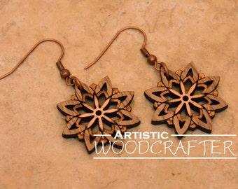 Wooden Flower Earrings (Walnut/Cherry)