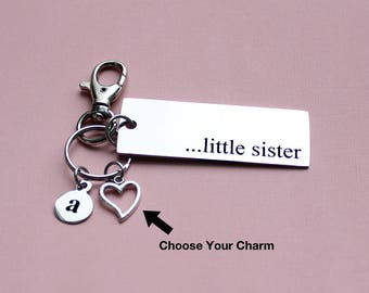 Personalized Sister Key Chain Little Sister Stainless Steel Customized with Your Charm & Initial - K162