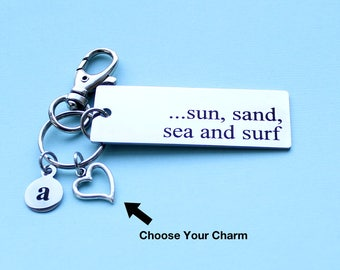Personalized Beach Key Chain Sun, Sand, Sea And Surf Stainless Steel Customized with Your Charm & Initial - K281