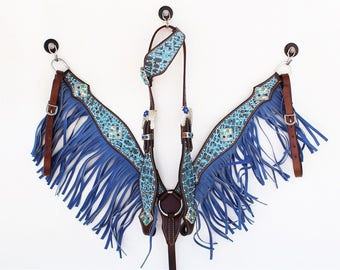 One Ear Blue Gator Fringe Headstall Leather Western Horse Trail Bridle Breast Collar Plate Barrel Racer Cowgirl Bling Tack Set