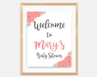 Rustic Welcome Baby Shower Sign, Baby Shower Signage, welcome to, coral, floral, flowers, beige, elegant, classy, girl, oh baby, 023