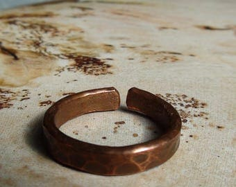 Thick Hammered Copper Rings