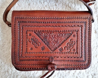 Leather shoulder bag - handmade