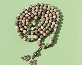 Exclusive Prayer Mala 108 Beads 12mm Round Beads Petrified wood Grade AA