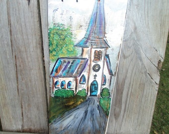 Rustic Hand Painted ChurchSign on Reclaimed Cedar Wood/ Primitive Shabby Chic Religious Gift