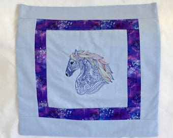 Cushion / Pillow cover with machine embroidered unicorn