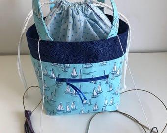 Two at a time knitting bag, TAAT Knitting project bag, small Standard project bag, crochet project bag, wip bag, divider bag, yarn bag