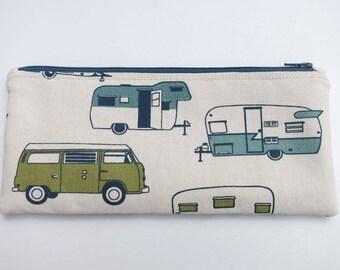 Vintage Camper Zipper Pouch, Vintage Camper Pencil Pouch, Cosmetic Bag, Pencil Case, Retro bag, School Pencil Pouch, Vintage Camper bag