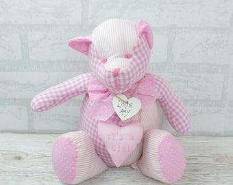 Personalised Baby Door Stop Itu0027s A Girl Teddy Pink Nursery Shower 33cm  FD0320A/C
