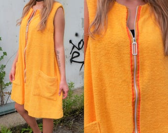 70's Yellow Terry Cloth Moo Moo Dress / Cover-up with Deep Pockets