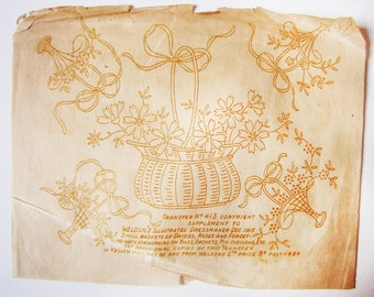vintage embroidery transfer - 1915 Ewardian basket of flowers - unused iron on wax transfer - yellow wax for dark fabrics