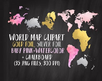 World map clipart etsy world map clipart gold map clipart continents clipart gold silver pink gumiabroncs Gallery
