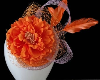 Orange Fascinator, Racing Hat, Melbourne Cup Hat, Spring Racing Hat, Fascinator, Racing headpiece, Womans/Ladies Hat, Designer Hat - BELLA