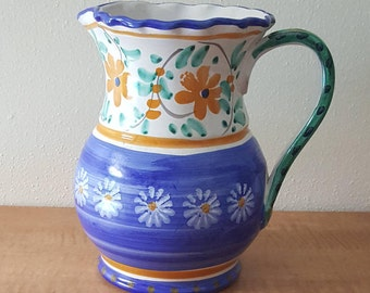 Italian Ceramic Pitcher By Firenze~Italian Water Pitcher~Brocca d'Acqua~Jarro~Hand Painted Blue with White & Yellow Daisies~Made in Italy