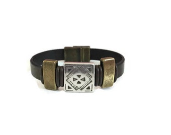 Leather Bracelet, Brown leather Bracelet, Magnetic Closure, Antique Brass, Antique Silver, Bracelet, Gift, Leather Jewelry