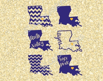 LSU svg, EPS, dxf,PNG Cut Files for Silhouette, Cricut, Vectors, Digital Download, Death Valley, Tigers, Football,  State Shapes, Louisiana