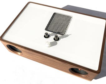 Bluetooth Speaker - REDONDO - Wireless - Mini Vacuum Tube High End Audio - Vintage Midcentury Modern - Walnut Hard Wood