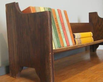 Antique Wooden Book Shelf, Vintage Shelf, Tabletop Dark Wood Book Rest,  Book Ends