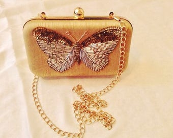 Stunning Butterfly Embellished Clutch/Wedding/Clutch/Evening Clutch/Party Clutch/Gift Clutch