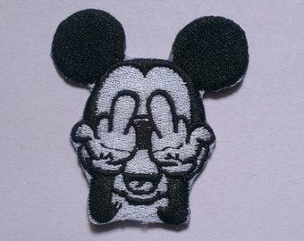 Mickey Mouse Iron on Applique, Disney Mickey Iron on Patch, Black & White Mickey Iron-on Application