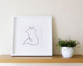Fox Line Drawing (A3) Giclee Print, Fox Sketch, Fox Illustration, Fox Drawing, Simple Fox Art, Fox Home Decor, Ink Line Drawing, Fox Print