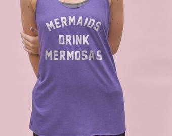 Mermaids Drink Mermosas Tank Top - funny mermaid tshirt, funny womens gym top, mermaid workout tank, funny mermaid shirt, mermaid quotes