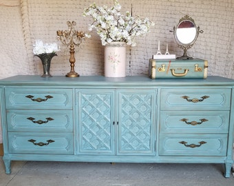 Vintage Chic, Mid Century, Credenza, Long Dresser, Turquoise, Hand Painted, Shabby Chic, 1950's, Thomasville