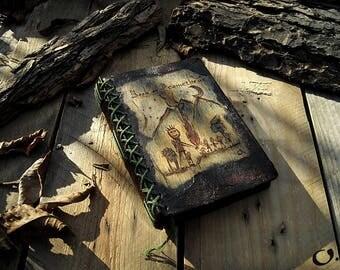 Book of Prometheus-handmade small wooden journal,Greek mythology, Long stitch bind,drawing journal,mythology design,wooden cover, scrap book
