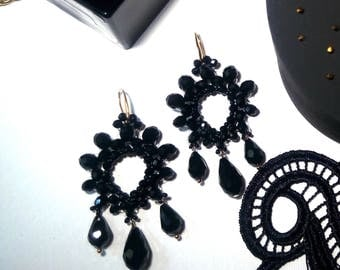 Black Statement Earrings, Drop Earrings, Big Earrings, Fashion Earrings, Geometric Earrings,Fashion Jewelry,  Chandelier Earrings