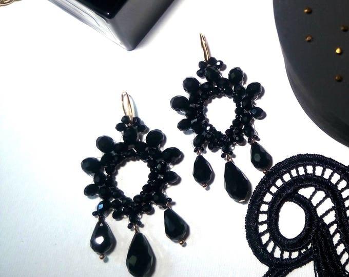 Black Statement Earrings, Drop Earrings, Big Earrings, Fashion Earrings, Geometric Earrings,Fashion Jewelry, Chandelier Earrings