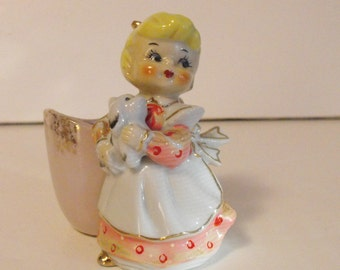 Lefton Girl with Puppy Planter Japan   (1097)