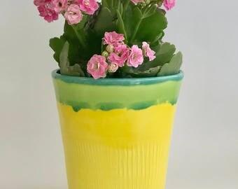 Handmade Wheel Thrown Planter Pot in Sun Yellow and Green