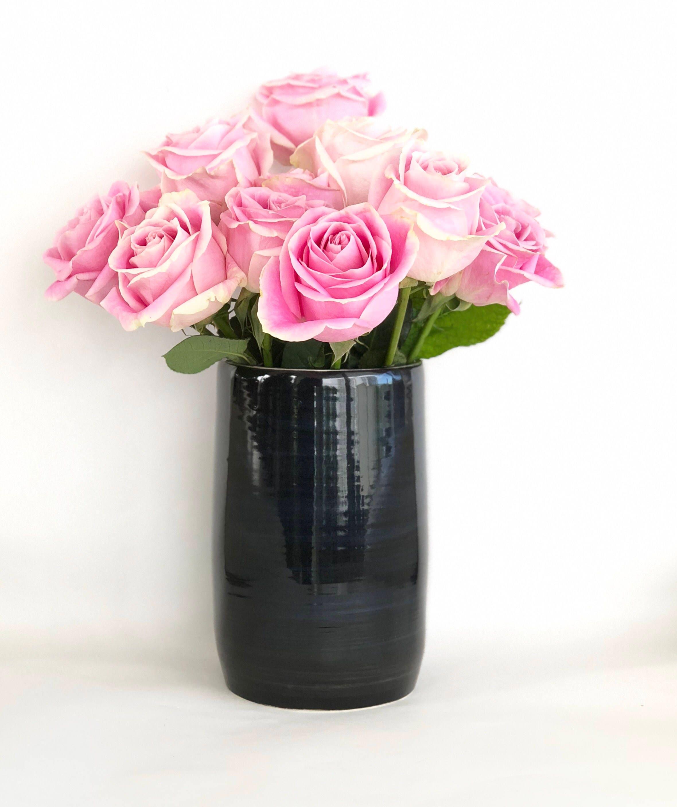 Black and white flower vase handmade wheel thrown reviewsmspy
