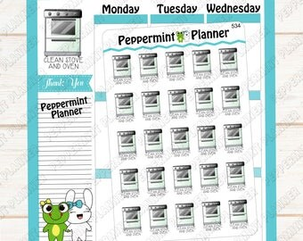 Clean Stove and Oven  --- Planner Stickers --- 534
