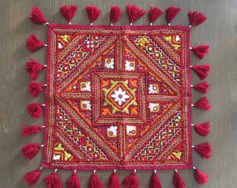 Indian Embroidery Red Square Tablecloth,Handmade Kutch Embroidery Colourful  Mirrorwork Tassel Tapestry,Wall Art