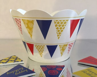 Beautiful Happy Birthday Flags Cupcake Wrapper & Toppers.