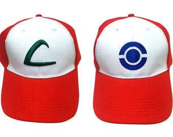 PICK a STYLE Ash Ketchum Hats From Pokemon High QUALITY Baseball Cap Trainer 3D Embroidered Original Game Go Costume Cosplay Adult White Red
