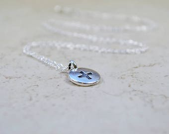 Silver Plus Sign Necklace, Meditation Charm Pendant, Positive Sign Cross Symbol, Sterling Silver Chain