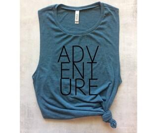travel adventure tank top, muscle tank, yoga tank, workout tank top, barre tank, bachelorette tank, wanderlust, running tank, graphic tee
