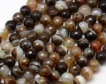 Natural Brown Striped Agate Faceted Round Gemstone 4mm 6mm 8mm 10mm Loose Beads