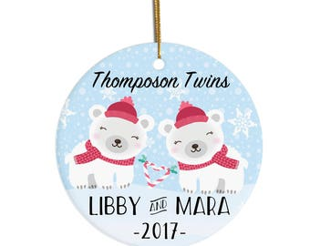Twins Ornament, Personalized Christmas Ornament, Ornament for Twins, First Christmas Ornament, Baby's First Christmas, Custom Ornament