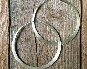 hand-forged raw brass & sterling silver hoops