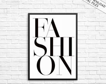 Fashion typography print, fashion print, fashion wall art, fashion wall print, fashion, art print, minimalist print, poster, black and white