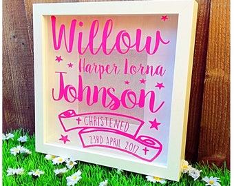 Personalised Christening, Baptism, First Holy Communion Gift, Personalized frame, Christening gift, New Baby, Children's Bedroom Print