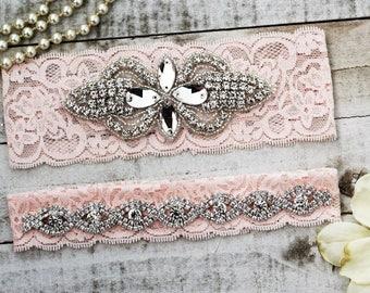 Blush Pink Rhinestone Bridal Garter Set NO SLIP grip vintage rhinestones, pearl and rhinestone garter set