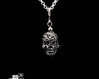 Silver Plated Rolo Chain Necklace with Black Shambala Skull Pendant, Jewellery, Jewelry, Unisex, Silver, Metallic, Spooky, Scary, Boo, Face