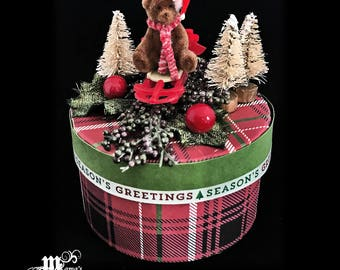 Paper Mache Jewelry Box Plaid with Teddy Bear, Red, Black, Green, White, Striped, Christmas, Sleigh, Pine Trees, Mixed Berries, Round, Cute